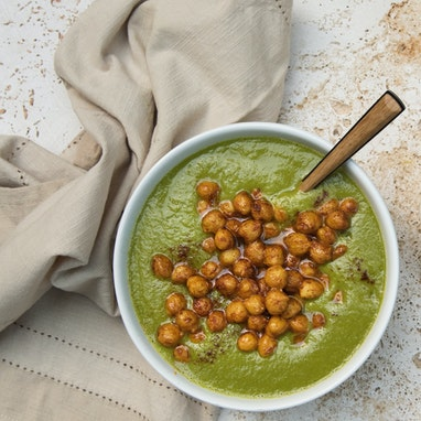 Caramelized Leek Soup with Turmeric Toasted Chickpeas