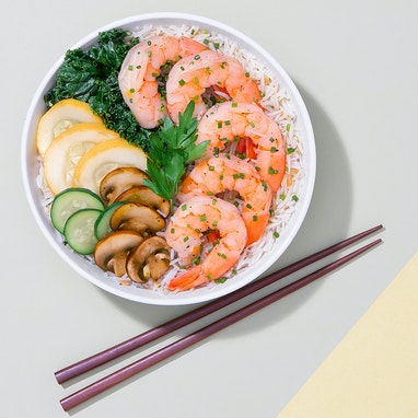 Steamed Shrimp & Veggies with Ginger Basmati Rice